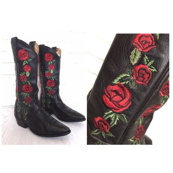 Dan Post Cowboy Boots Embroidered Red